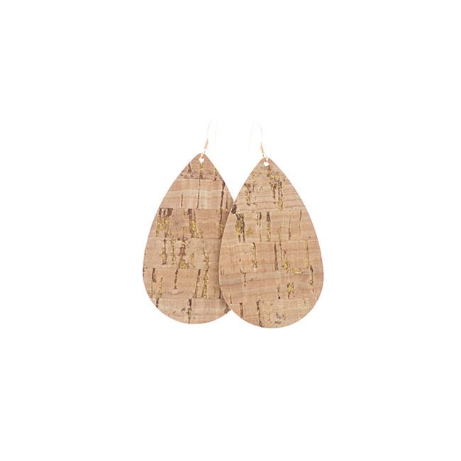 Gold Cork Leather Earrings Nickel and Suede