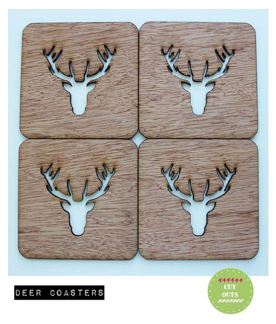 deer coasters by CutOutsMK on Etsy