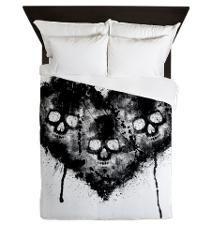 Black Skull Heart Grunge Queen Duvet