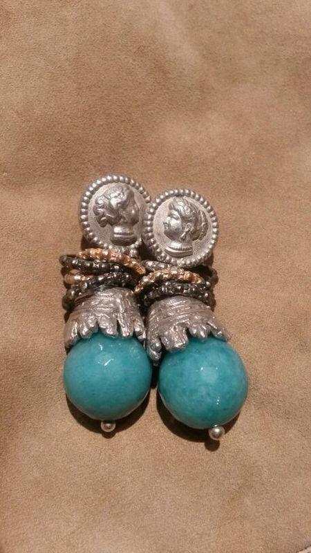 #orecchiniblu #colore #estate #earrings #turquoise Gorgeous color combo between silver and turquoise!! Siamo pazzi per i colori negli orecchini! Sono stupendi