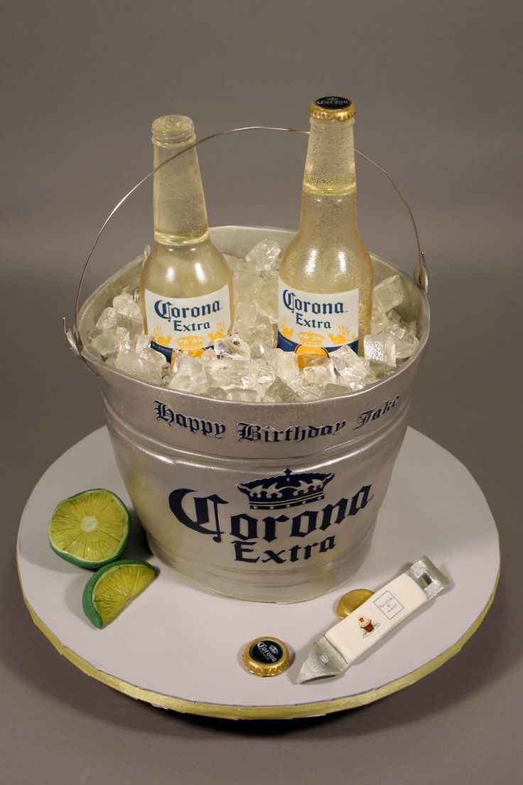 Corona Beer Bottle Bucket Birthday Cake Decorated In