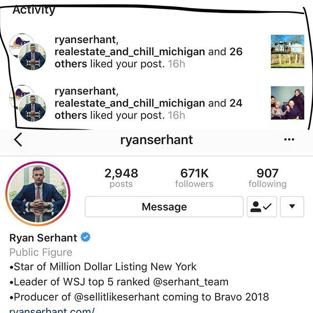 So this just happened on my business page and I am super geeked ❤️💃🏽😂 Ryan Serhant from Million Dollar listing New York just liked two of my pics! 😂 #realtorlife #soexcited #localrealtors - posted by Marlen https://www.instagram.com/marlen_johnny - See more Real Estate photos from Local Realtors at https://LocalRealtors.com