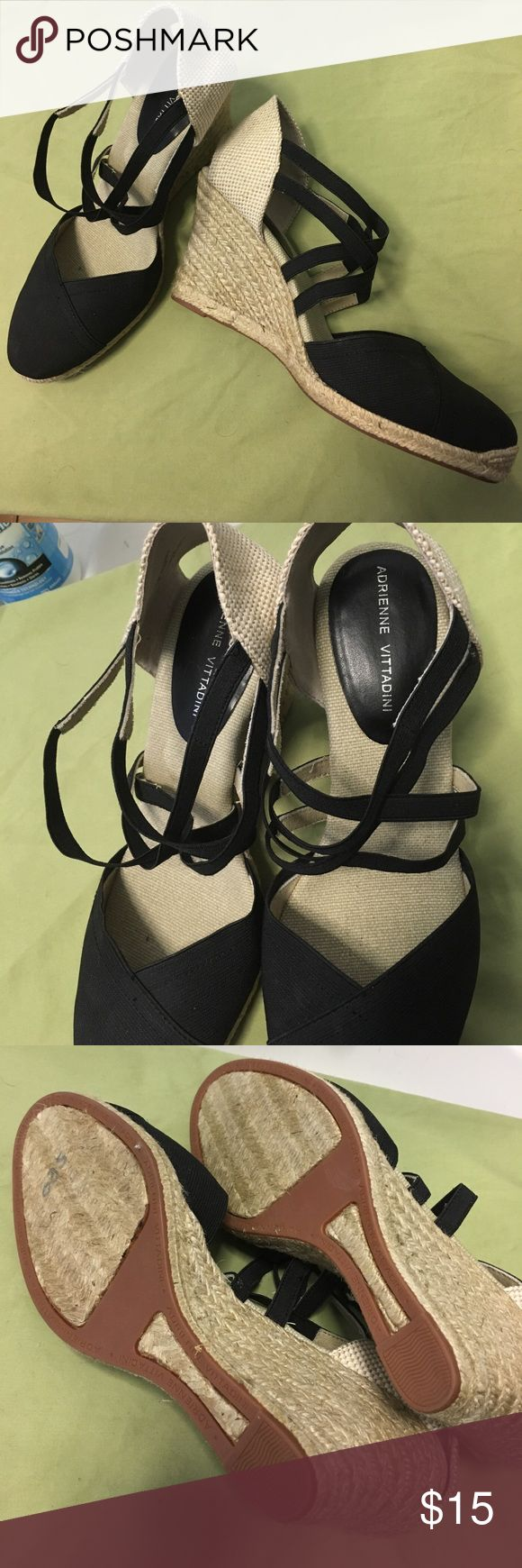 Adrienne Vittadini wedge espadrilles NWT Charming wedges feature a mix of natural and black textiles in a variety of texture. Closed toe means you can feel beachy all year long. New, never worn, without tags. Adrienne Vittadini Shoes Wedges