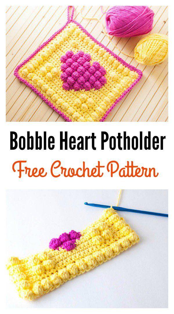 Crochet Bobble Heart Potholder Free Pattern
