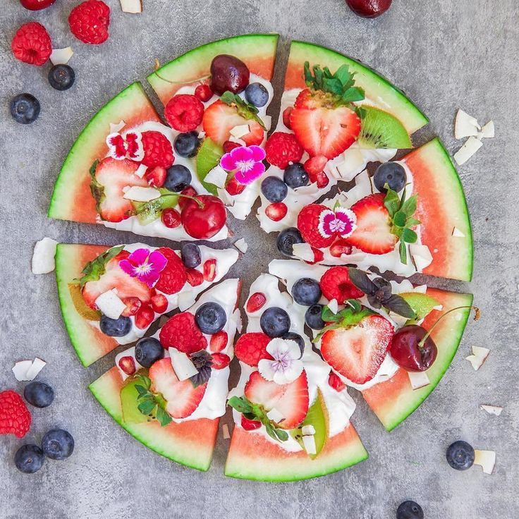 Surprise your guest with this dessert. Watermelon pizza ・・・ Watermelon pizza topped with yogurt and fresh fruits. *Add seeds and nuts of your choice Perfect refreshing dessert for a warm summer day#AvoidProcessedFoods #goodfood #healthyf