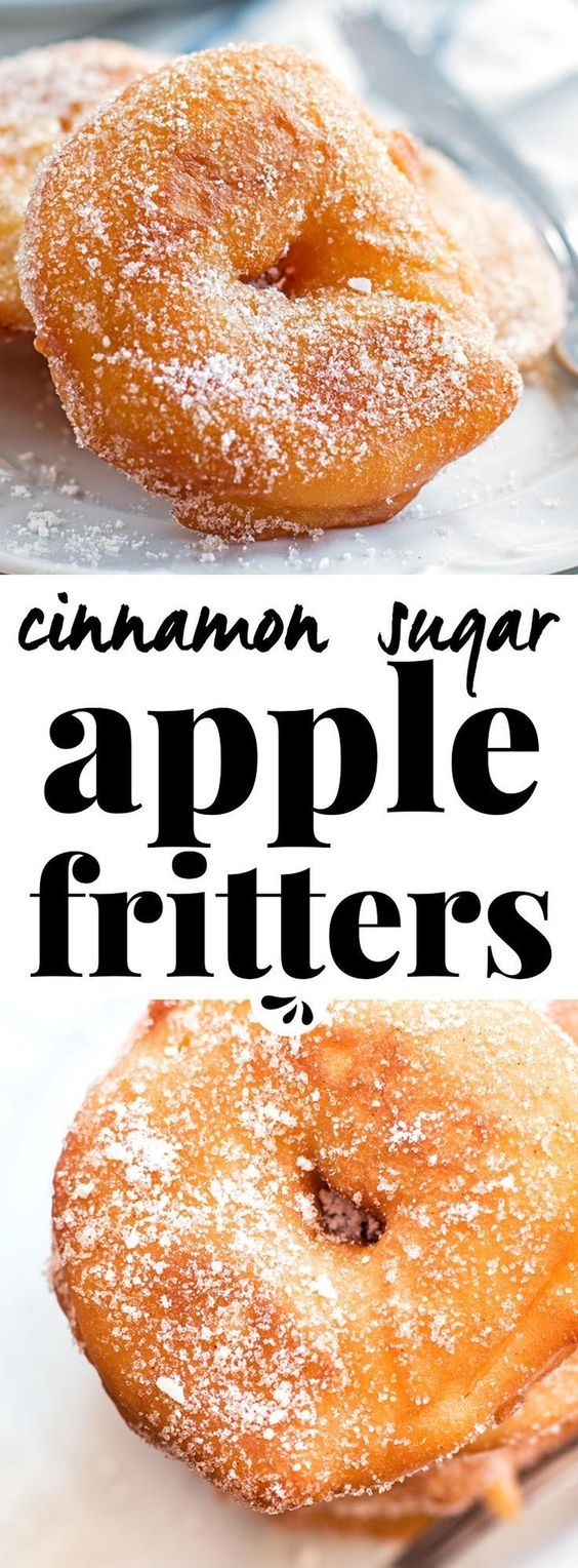 Are you looking for an easy apple fritter recipe? These are SO good! They look like fried apple donuts - the homemade batter turns out so crispy and makes your entire home smell of fall. It's the best German old fashioned treat for a golden autumn. Dip the finished rings in simple cinnamon sugar for extra deliciousness! via @savorynothings