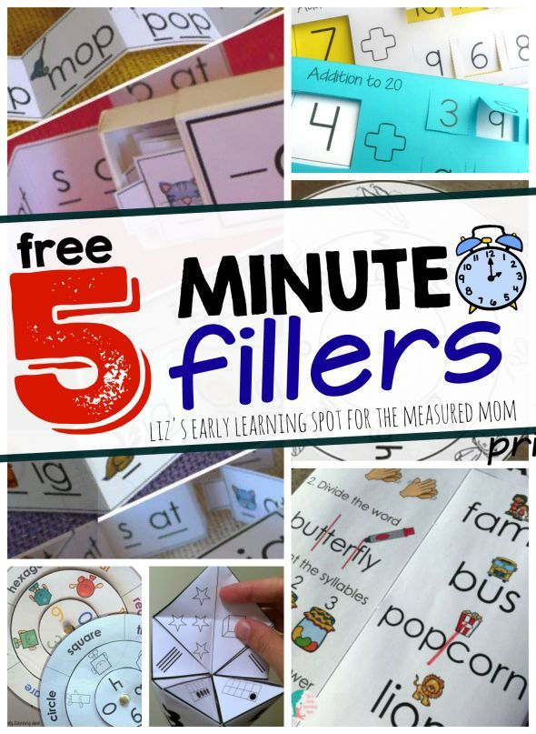 Print these freebies for 5 minute math and literacy activities! Perfect for filling those extra five minutes.
