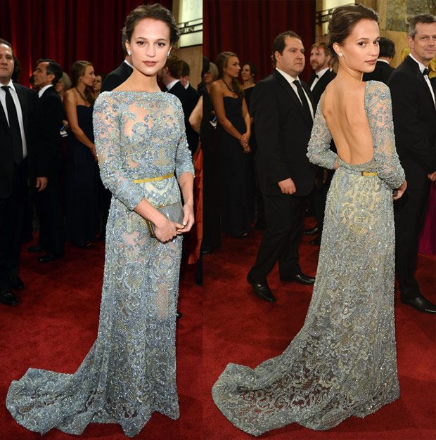 Alicia Vikander in Elie saab - stunning dusk egg colour. Perfect high slash neck and low back detail. Love the contrast of this colour belt.