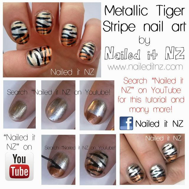 Tutorials For Metallic Tiger Stripe Nails!