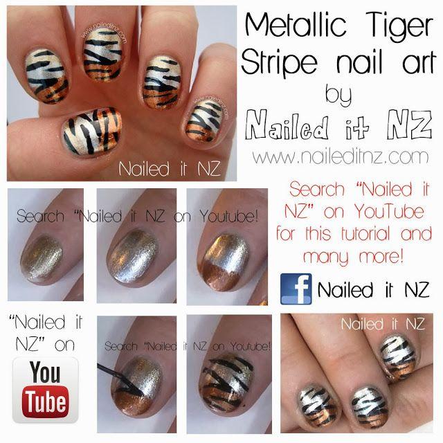 Tutorials For Metallic Tiger Stripe Nails!
