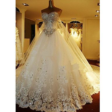 A-line+Petite+Wedding+Dress-White+Cathedral+Train+Sweetheart+Tulle+–+USD+$+299.99