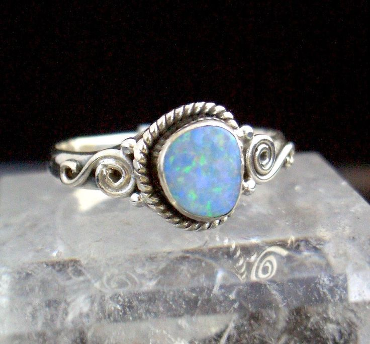 Genuine Blue AUSTRALIAN OPAL with Green and Violet Sparkles, 925 Solid Sterling Silver Fabulous Delicate Ring Sz.8.5!! by Ameogem on Etsy