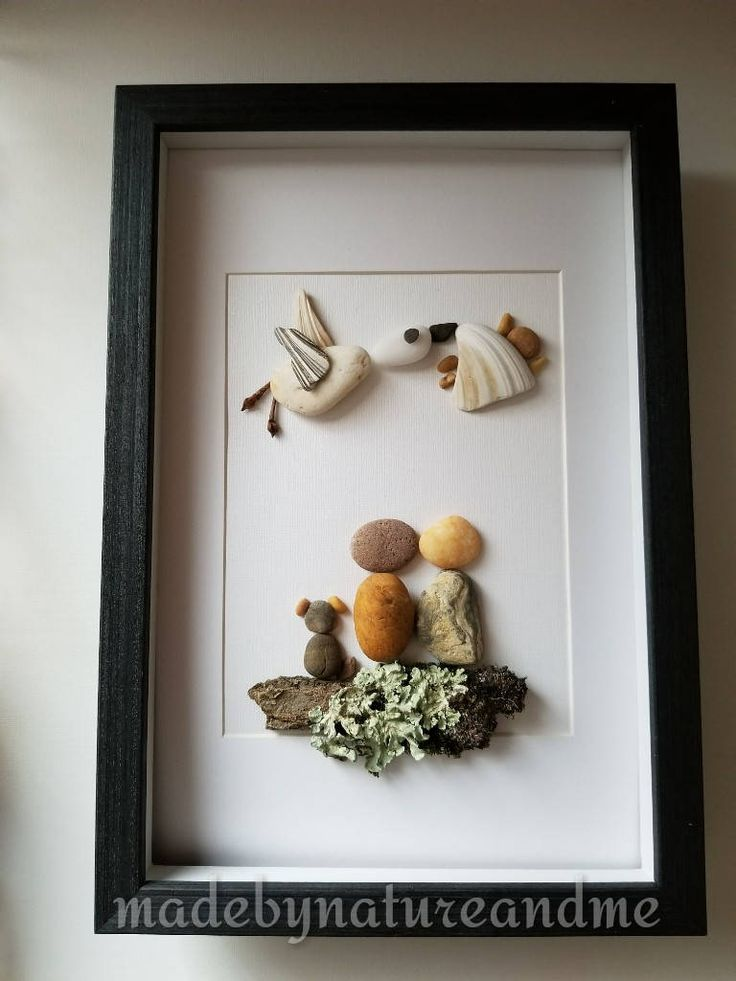 Pebble art expecting parents with a dog, Stork art, unique pregnancy congratulations, pregnancy announcements, baby shower gift, nursery art by madebynatureandme on Etsy