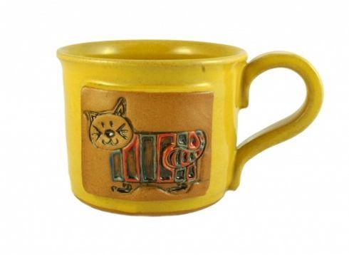 Hrnek s kočkou - keramika Hrnek válcového tvaru točený na hrnčířském kruhu a barvený žlutou glazurou. Výška 8 cm, objem cca 300 ml. Všechny použité materiály mají hygienický atest.