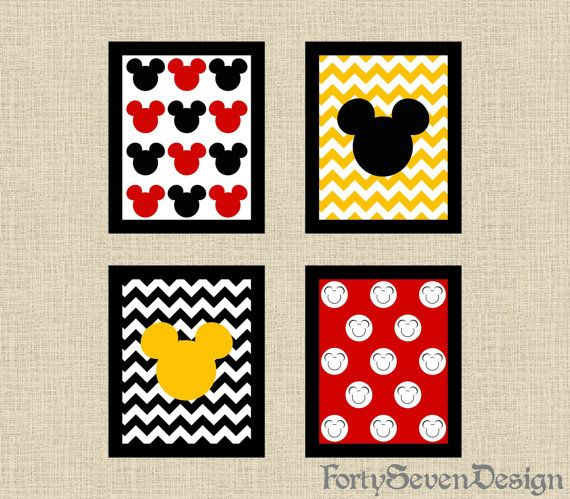 Conjunto de 4 Chevron Mickey Mouse negro, blanco, rojo & amarillo imprimible Wall Art