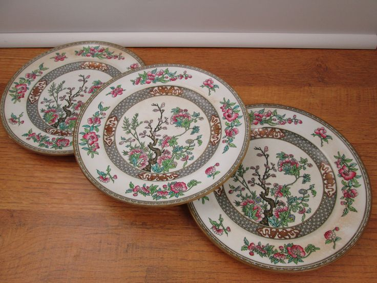 3 Antique Minton Pottery Indian Tree Chinoiserie Pink