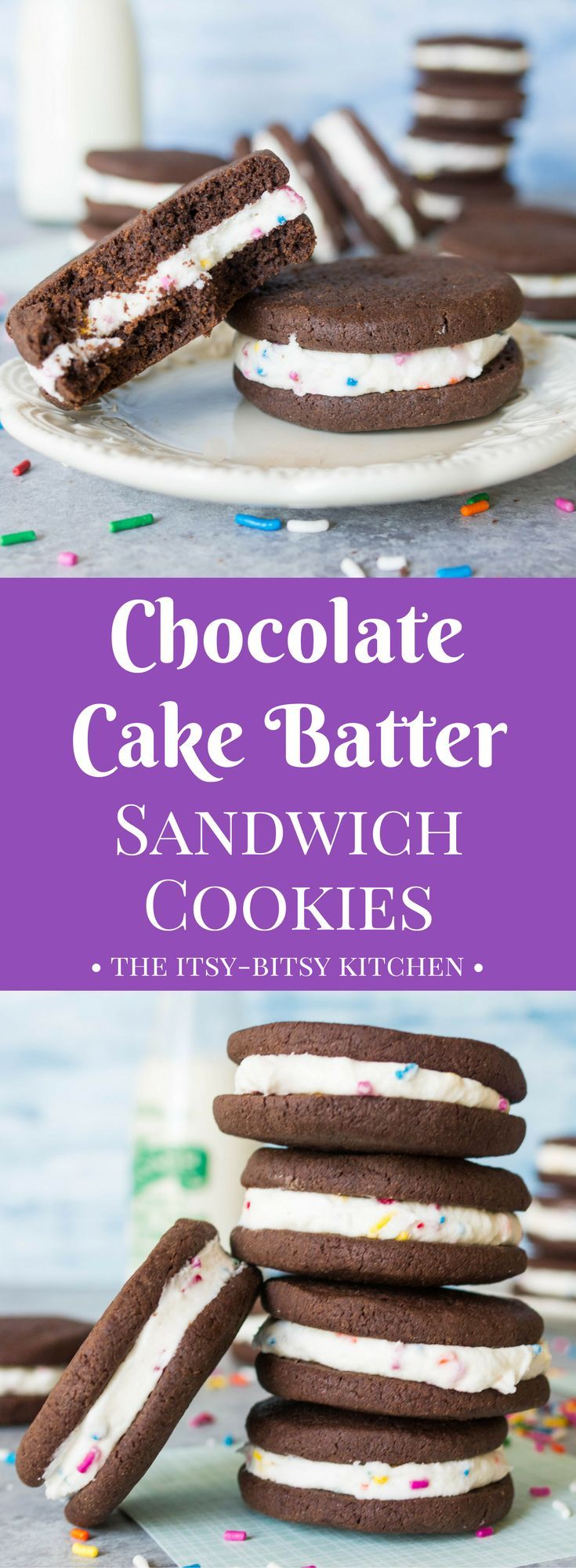 With their cake batter filling and crunchy chocolate cookies, these cake batter #chocolate sandwich #cookies are a sweet treat you need in your life! #Recipe from itsybitsykitchen.com