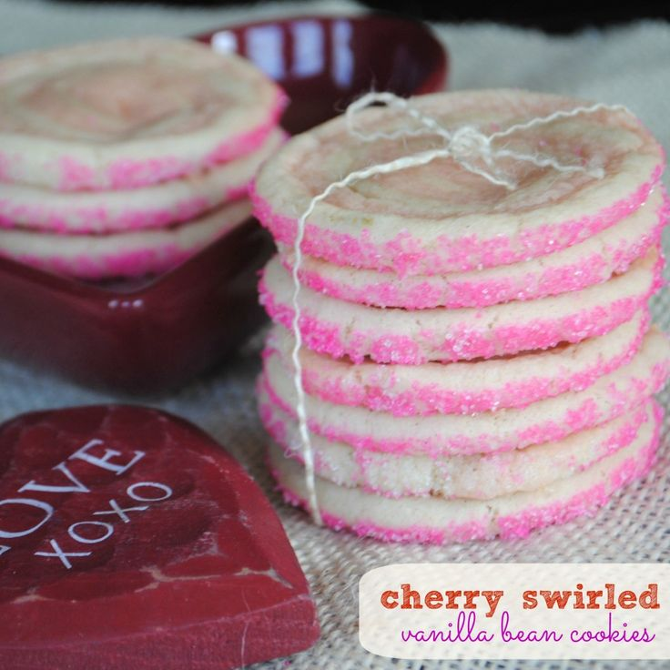 Cherry and Vanilla Bean swirled Icebox cookies