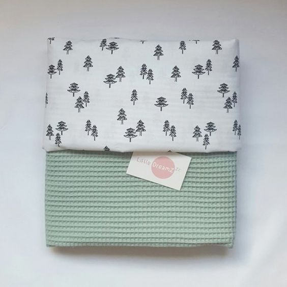 Ledikant deken wafelstof boompjes