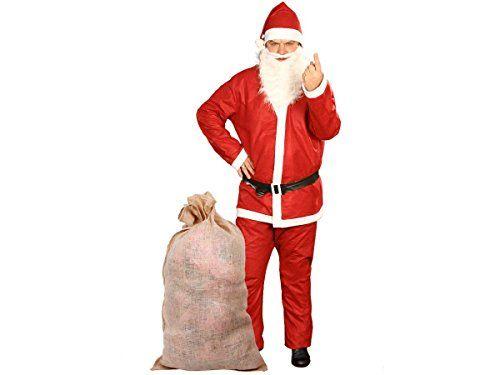 Costume père noël + Sac en jute naturel (KV-73) déguisement complet pas cher: Une Veste taille unique pour adulte. Un pantalon réglable à…