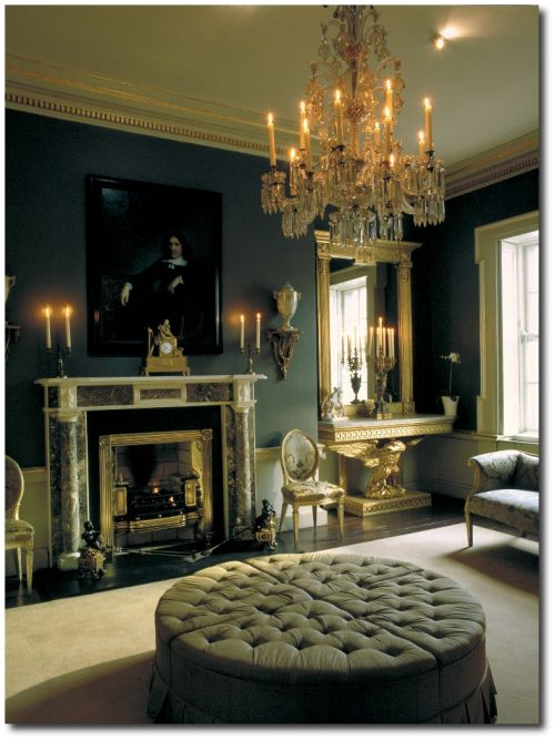 Regency Decor: Tufted Sectional Ottoman, Crystal Chandelier