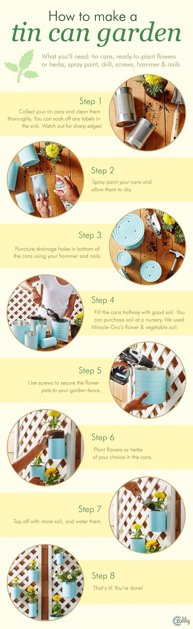 Learn how to make your own tin can garden in these 8 easy steps