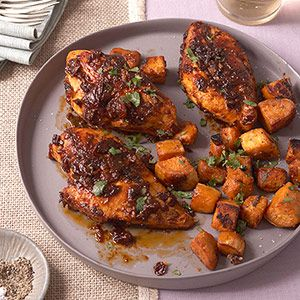 Chipotle-Glazed Roast Chicken w/ Sweet Potatoes