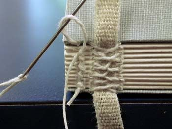 Binding a book by hand. This spine features French binding, and the needle is in the process of completing a kettle stitch. Linen tapes and linen thread.