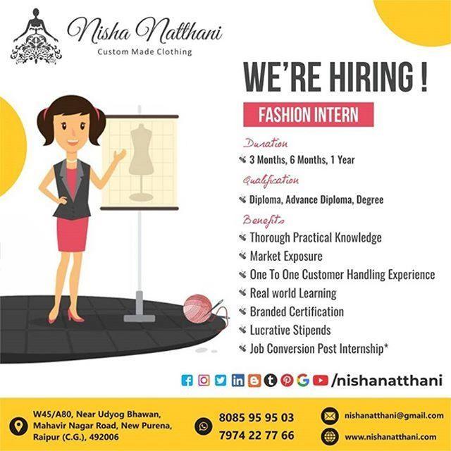 Opportunity For Fashion Designers To Do Internship From Nisha Natthani Boutique Raipur Fashion Design Custom Made Clothing Fashion