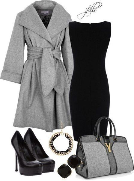 Love this jacket! -- Grey jacket, black dress, black heels, grey purse, gold accents.