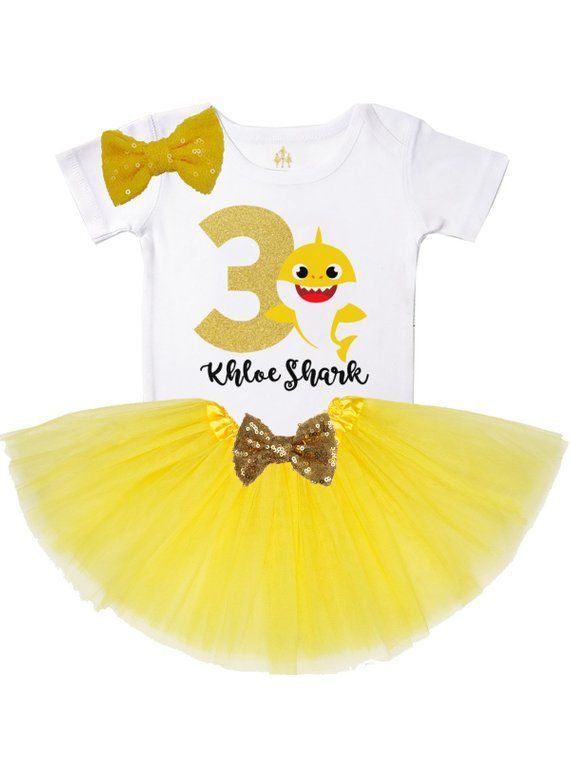 efea028a baby shark t-shirt - girl's birthday tutu outfit in yellow - shark birthday  theme for girls