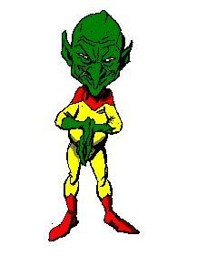 "An artist's depiction of the ""little green man"" described in the novel Martians, Go Home 