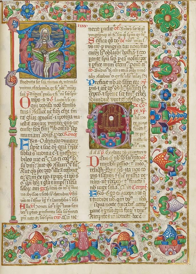 Wow, what a border on this 15th-century Hungarian illumination. The Feast of Corpus Christi is the focus of the manuscript,