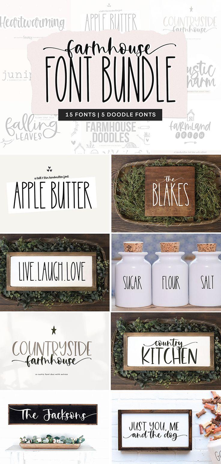 Download Farmhouse Font Bundle - Fonts for Crafters, Cricut Fonts ...