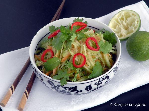 Oerspronkelijk: Thaise salade van watermeloen(schil).