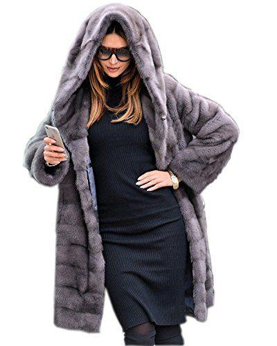 accdc287e5a Aox Women Winter Overcoat Grey Faux Fur Warm Thicken Hood... https