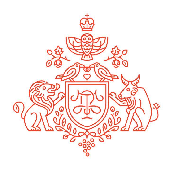 monoline   Tumblr crest logo icon design lion illustration animals