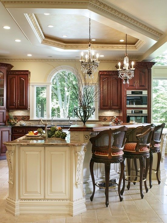 Traditional Kitchen Design, Pictures, Remodel, Decor and Ideas - page 10. This is my dream kitchen!!! (other than the barstool chairs)