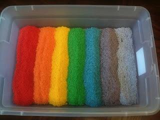 so many sensory activitiesSensory Table, Sensory Activities, Create Exploration, Colors Rice, Rainbows Rice, Plays Create, Sensory Bins, Sensory Play, Bright Colors