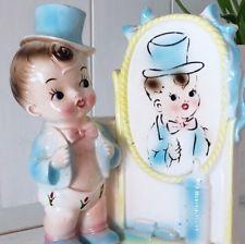 Vintage Baby Boy Ceramic Planter Midcentury Mirror Top Hat Kitsch Kitschy Japan