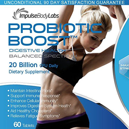 Maintain Intestinal Flora, Support Immune Reponse, Enhance Cellular Immunity, Improve Digestive Health, Healthy Cholesterol, Relieve Fatigue symptoms. Probiotic Boost 20 Billion CFU. 60 Tablets. USA. -- Check this awesome product by going to the link at the image.
