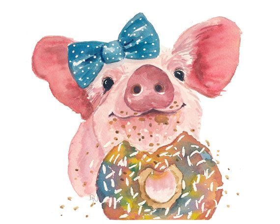 Pig Watercolor PRINT - 5x7 Painting Print, Sprinkle Donut, Kitchen Art