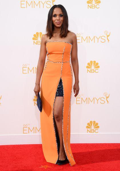 Kerry Washington of Scandalarrives at the 66th Emmy Awards.