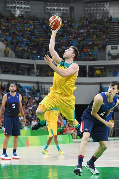 #RIO2016 Best of Day 1 - Matthew Dallavedova of Australia shoots the ball against France on Day 1 of the Rio 2016 Olympic Games at Carioca Arena 1 on August 6 2016 in Rio de...