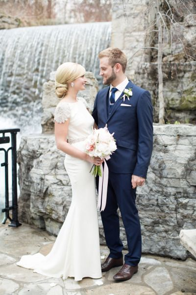 Gorgeous bride and groom: http://www.stylemepretty.com/canada-weddings/2014/10/21/romantic-canada-wedding-at-ancaster-mill/ | Photography: Karyn Louise - http://karynlouisephotography.com/