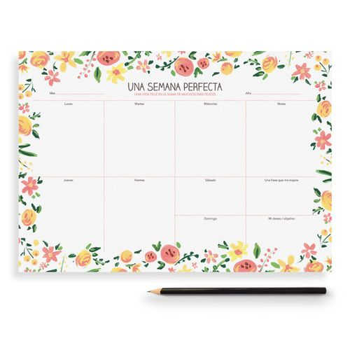 "Planificador semanal ""Una semana perfecta"". Flores"