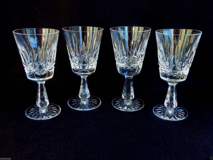 4 beautiful waterford crystal claret wine glasses rosslare - Waterford Crystal Wine Glasses
