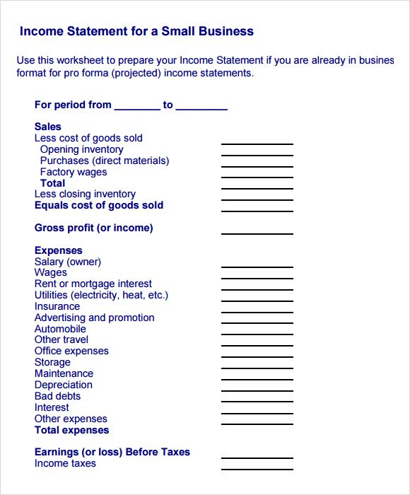 Image result for income statement template pdf