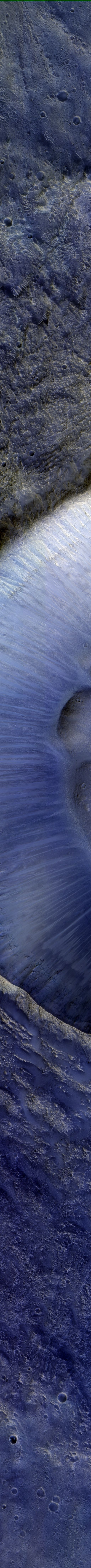 Martian Crater - image taken by HiRES (High Resolution Imaging Experiment) ~ Well-Preserved 8-Kilometer Diameter Impact Crater on surface of Mars. (NASA/JPL/University of Arizona)