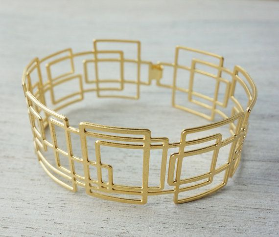 Larsen Thin Bracelet in Gold geometric signature by shlomitofir